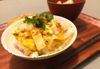 時短メニュー!お鍋で余った白菜で作る鯖缶の卵とじ丼