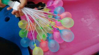 ホースに繋ぐだけ!ダイソーの水遊びグッズで水風船を大量生産!