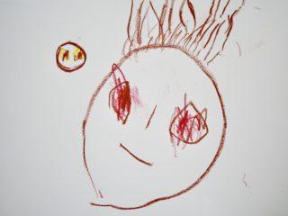 【子どもの絵】なぜ、目を赤く描くの?息子に聞くと驚きの理由が明らかに